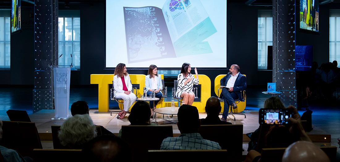 Elena González-Blanco, IP del Proyecto Europeo POSTDATA participa en el encuentro sobre Voz humana e Inteligencia Artificial, organizado por la Fundación Telefónica.